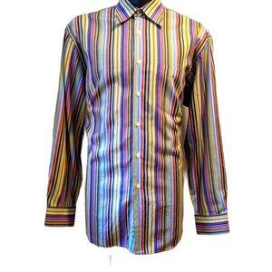 Klauss Boehler striped button front shirt XL
